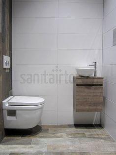 Landelijk badkamermeubel, hout, steigerhout meubel badkamer, waskommen, badkamer tegels, houtlook tegels toilet