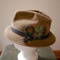 e361d54836976c Vintage 50s Mad Men Velour Bianchi Fedora Trilby Hat 7 1/4 Tyrolean  Bavarian Trilby