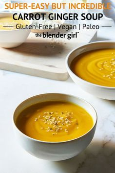 This super easy carrot ginger soup uses just 6 ingredients and is vegan and gluten-free. This recipe is kid-friendly and simple but has fabulous flavor. - June 01 2019 at Delicious Vegan Recipes, Gluten Free Recipes, Vegetarian Recipes, Healthy Recipes, Blender Recipes, Soup Recipes, Ginger Soup Recipe, Cheesy Potato Soup, Healthy Sweet Snacks