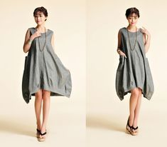 Tulip / Free Style Flower Bud Linen Summer Dress with Big Pockets/ 20 Colors/ RAMIES on Etsy, $86.00