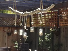 Driftwood Chandelier with vintage glass candle holders on Etsy, $200.00
