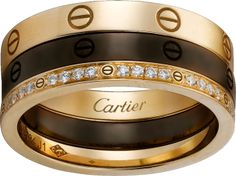 LOVE ring - Pink gold, ceramic, diamonds - Cartier