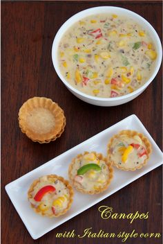Canapes are one bite crisps made in different shapes.One can create a lot of intere. Indian Paneer Recipes, Paratha Recipes, Indian Food Recipes, Puri Recipes, Indian Snacks, Breakfast Recipes, Snack Recipes, Cooking Recipes, Veg Starter Recipes
