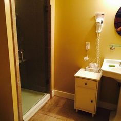 Bathroom, Room 216, the John Wayne Room, at the Historic Lund Hotel, Lund, BC
