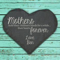 Personalised Mothers Holds Hands and Hearts Slate Keepsake