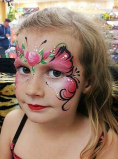 Butterfly & roses face painting.