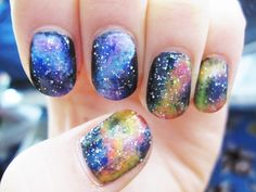 Galaxy nails :) I have to try this!