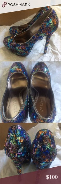 NEW! Glitter kiss. bakers 👠 heels 💥 Gorgeous new no box 6.5 Bakers glitter kiss heels multi color glitter sparkle irresistible colors and perfect height make these beauties a must have for all wardrobes!  No damage unused Bakers Shoes Heels
