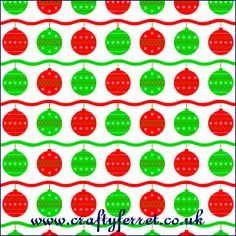 Free printable red and green Christmas baubles craft backing paper from www.craftyferret.co.uk Green Christmas, Christmas Baubles, Free Christmas Printables, Free Printables, Christmas Scrapbook Paper, Background Designs, Green Craft, Wallpapers, Red