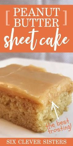 This peanut butter sheet cake recipe is the perfect dessert to feed a crowd! Peanut butter sheetcake with peanut butter frosting is one of our favorite dessert recipes, and everyone always loves it when we take it to a bbq, picnic or party! #pb #peanutbutter #sheetcake #dessertrecipe #dessert #recipe #recipeseasy #easyrecipe #dessertideas #cake Sheet Cake Recipes, Dessert Cake Recipes, Mini Desserts, Easy Desserts, Sheet Cakes, Healthy Cake Recipes, Delicious Cake Recipes, Frosting Recipes, Health Desserts