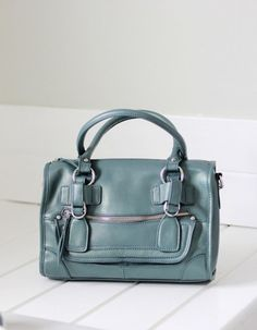 Leather satchel / leather purse - CLEO in metallic blue