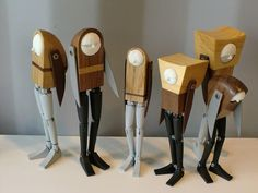 "Mr. Mani's works - Articulated action figures made of wood, leather, synthetic resin and metal screw. He originally designed the mechanism of joints and 3D printed them using ""Shapeways"", an online 3D printing service. The joint strength is very tough as the parts are tightened by metal screw and nut."