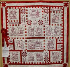 "Snowman Collector, 45 x 45"", redwork quilt by Jean Hefflinger. Design by The Stitch Connection. 2015 Sauder Village quilt show. Photo by Fabric Therapy."
