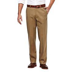 Premium No Iron Khaki - Classic Fit, Flat Front, Hidden Expandable Waistband - Haggar