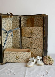 Vintage Doll Trunk Wardrobe Victorian wooden by TheHeirloomShoppe