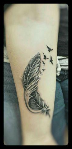 Breaking free never look back - Best Tattoos Ideas Music Tattoos, Mom Tattoos, Sexy Tattoos, Body Art Tattoos, Small Tattoos, Sleeve Tattoos, Tatoos, Feather With Birds Tattoo, Feather Tattoo Design