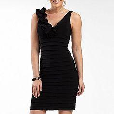 V-Neck Shutter-Pleat Dress w/ Rosette Shoulder - jcpenney