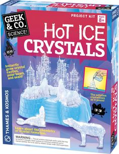 Follow the 16-page instructions and use the enclosed solution to grow the ice-looking castles, polar bears, and seals.  Manufactured by Thames & Kosmos.
