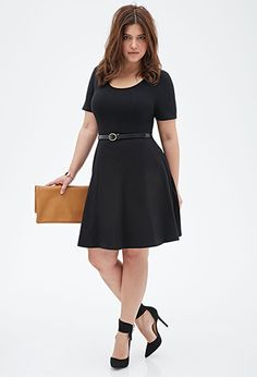 3 colors - 16 dollars each - who will buy for me?  Belted Skater Dress | FOREVER21 PLUS - 2000135758