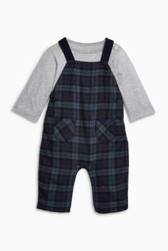 Buy Green/Navy Check Dungarees (0mths-2yrs) online today at Next: United States of America
