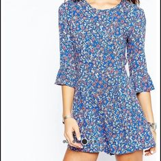 Floral romper  An adorable blue, white and pink floral romper from New Look bought on ASOS.com. In great condition. Never been worn, but tags have been cut off.  No trades. ASOS Other