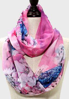 Chiffon Chrysanthemum Infinity Scarf #prettycolorcombo