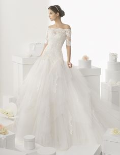 205 CADAQUES | Wedding Dresses | 2014 Rosa Clara Collection | Rosa Clara (Shown with off shoulder Illusion Lace Jacket)