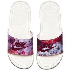 """Nike Women's Benassi """"Just Do It"""" Ultra Premium Slide [818737-106] ($45) ❤ liked on Polyvore featuring shoes, nike shoes, nike footwear, pink shoes, nike and bordeaux shoes"""