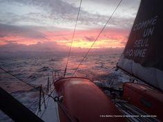 Photo sent from the boat Comme Un Seul Homme, on January 21st, 2017 - Eric Bellion Photo envoyée depuis le bateau Comme Un Seul Homme le 21 Janvier 2017 - Photo Eric Bellion Sunset front Brazil