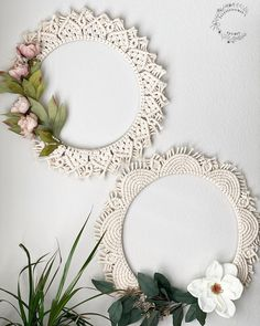 2 styles available - or can be made to order in varying styles/sizes. These can be hung on a front door, or inside on a wall. Macrame Wall Hanger, Macrame Mirror, Macrame Wall Hanging Patterns, Macrame Plant Holder, Macrame Art, Macrame Projects, Macrame Patterns, Macrame Knots, Micro Macrame