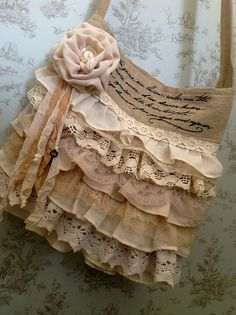 Ruffled Vintage Bag. love the layers of lace and tea-stained color - rosette - space for quote, even the tiny key tucked in - #vintage #handbag #crafts - ≈√