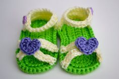 Cross Strap Baby Sandals with Heart Accent by OwlLuvCrochet, $15.00