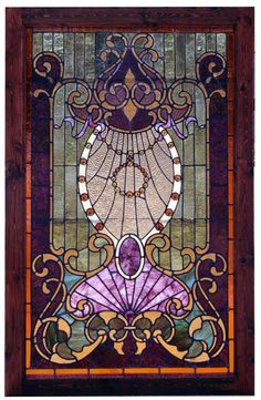 Antique Art Nouveau Stained Glass Landing Window, ca. 1900