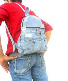 LEVIS jeans backpack denim reclaimed jean bag by Avivahandmade