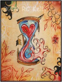 watercolor tattoos | Hourglass Watercolor Tattoo Art Print - Prints