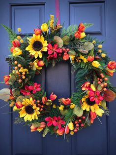 Sunflower Wreath Spring Sunflower Wreaths Red Yellow Orange Wreaths New Home Gift Housewarming Gift Mothers Day Spring Door Decor Sunflowers Spring Door Wreaths, Mother Gifts, Mothers, Yellow Doors, Sunflower Wreaths, New Home Gifts, Grapevine Wreath, House Warming, Floral Wreath