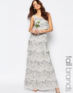 Image 1 ofMaya Tall Layered Maxi Dress With All Over Embellishment