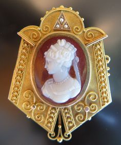 Victorian Carved Oval Carnelian & Agate Cameo Brooch/Pendant Mounted In 14k Gold Ornate Scroll Designed Frame