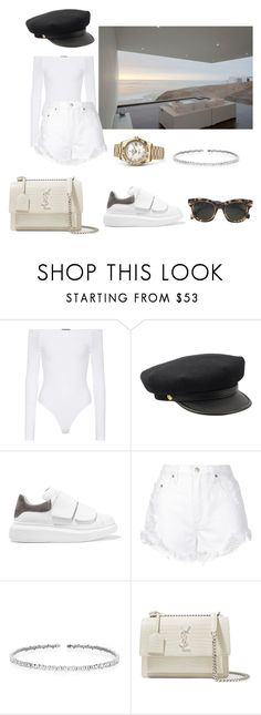 """""""summer"""" by nuage-orage on Polyvore featuring ATM by Anthony Thomas Melillo, Alexander McQueen, Nobody Denim, Suzanne Kalan, Rolex, Yves Saint Laurent and CÉLINE"""