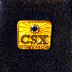 Vintage CSX Railroad 20 Year Service Pin Tie Tack Lapel Pin.