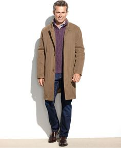 $275, Brown Overcoat: London Fog Coat Durham Raincoat. Sold by Macy's. Click for more info: http://lookastic.com/men/shop_items/54696/redirect
