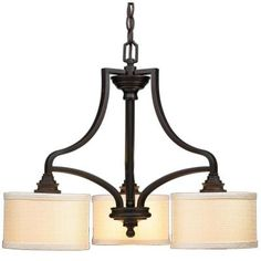 Hampton Bay 3-Light Oil Rubbed Bronze Dinette Chandelier with Fabric Shades-ES0576OBR at The Home Depot