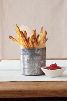 From-Scratch Oven Fries - 35 Delicious Potato Recipes - Southernliving. Recipe: From-Scratch Oven Fries These homemade fries are better than the drive-through. Because they are oven-baked, the fries have less fat and calories, and there is no oily mess to clean up. Dip in ketchup, Blue Cheese Dip, or Easy Marinara Sauce.