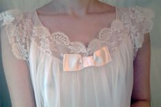 longhairdoll: i love this vintage nightie ♡ it looks white in photos but it is actually the softest pink.