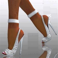 hochzeitsschuhe peeptoe 20 White Wedding Shoes Brides Wish They Wore at Their Wedding Hot Shoes, Crazy Shoes, Me Too Shoes, Shoes Heels, Sexy Heels, White Heels, Sparkly Heels, Sexy Sandals, White Sandals