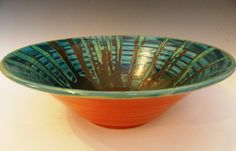 Wheel thrown terracotta bowl with colored by MarkCampbellCeramics, $40.00