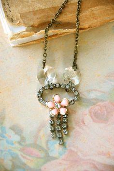 Petite Romance.vintage rhinestone pink floral necklace. Tiedupmemories
