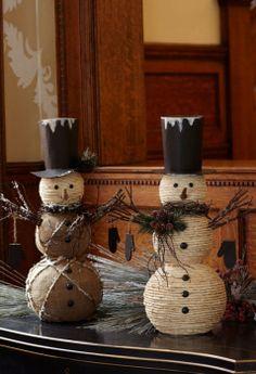 burlap and jute snowmen Primitive Christmas Decorations.