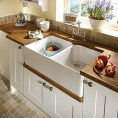£299 Crisp 900mm Double Belfast Kitchen Sink, Ceramic Gloss White Butler