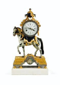 Pendule au cheval en bronze doré et relaqué<br>d'époque Louis XVI, le revers de la base signé <em>VION</em>, vers 1780 | Lot | Sotheby's